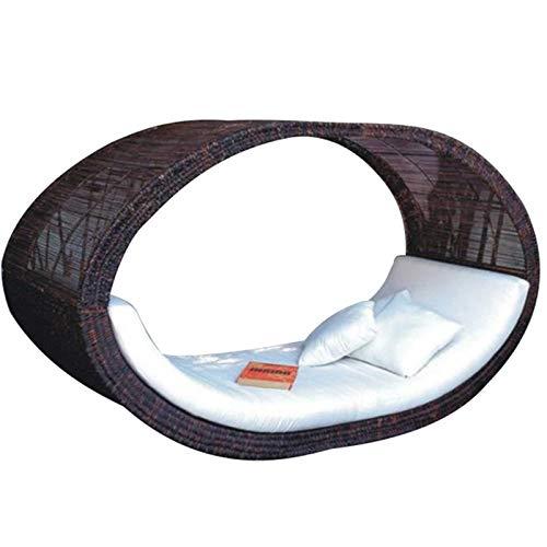 Cama de Sol Poly Rattan - Tumbona con Dosel - Tumbona de jardín - Cama de baño Doble de salón - Tumbona de Muebles de jardín