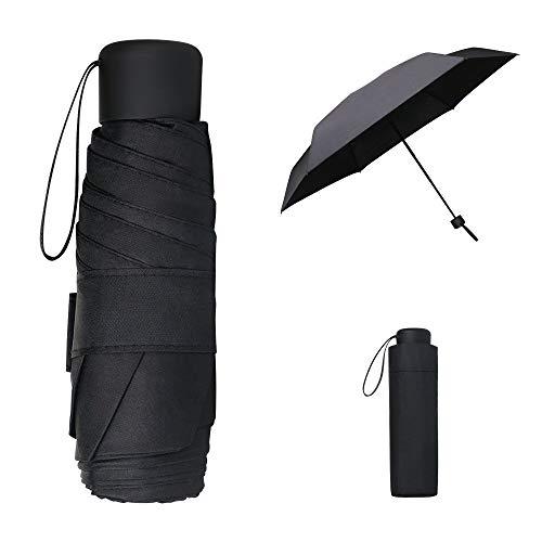 Vicloon Taschenschirm Ultraleicht, Mini Umbrella mit 6 Edelstahl Rippen, Kompakt, Faltender UV-Regenschirm für Erwachsene und Kinder, Leicht Kompakt, Stetig, Schwarz, 190g