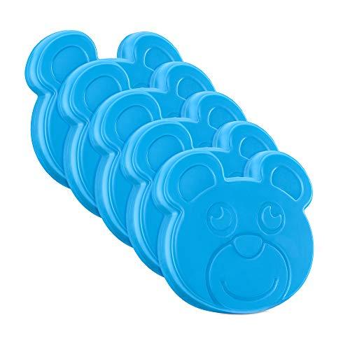 Navaris Kühlakku Kühlpad für Kühltasche Lunch Box 5X Kühlakkus Kühl Akku Cool Pack 5er Set Kühlelemente für Lebensmittel Bär Design