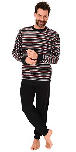 Eleganter Herren Frottee Pyjama Schlafanzug mit Bündchen - Streifenoptik - 291 101 13 135, Farbe:schwarz, Größe:52