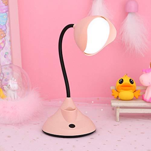 WWWL Lámpara de escritorio Flexo Lámpara de mesa Luz de noche Flor Led Lámpara de escritorio Touch Clip Lámpara de estudio Lupa Cuello de cisne Escritorio USB Mesa Luz Recargable Rosa