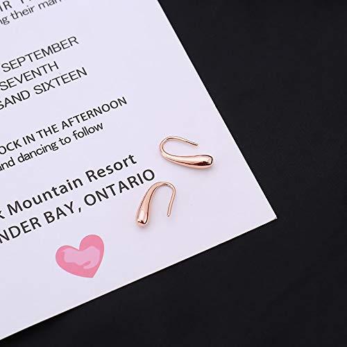 DFDLNL Pendientes de Oreja Gota de Agua Pendientes de Oro Rosa de Plata Pendiente pequeño de Color Plateado para Mujeres Regalos de niña RoseGoldColor