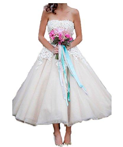 CoCogirls Spitze Trägerlos Ballkleid Tüll Knöchellänge Hochzeitskleider Strand Kurze Brautkleider Jahrgang Hochzeitskleid Abendkleid Partei-Kleider (36, Elfenbein)