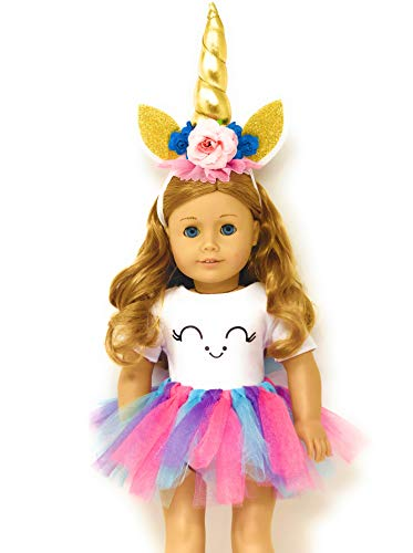 MY GENIUS DOLLS Unicorn Clothes, Headband, Tutu -fits All 18 inch Dolls Like American Girl, Our Generation My Life Gotz...