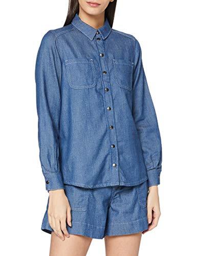 People Tree Damen Denim Shirt Hemd, blau, 42