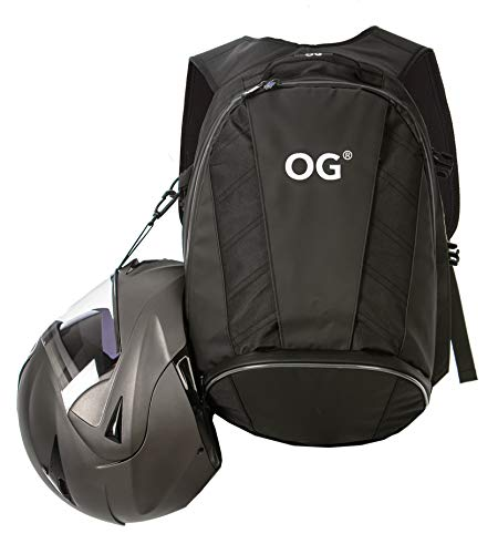 OG Online&Go EZ-RiderPRO Mochila Moto Negra Expandible 28-35L, Bolsa Porta-Cascos Motorista, Correa Casco, Impermeable, Portátil, Reflectante (Logo Blanco)