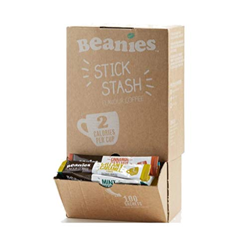 Beanies 100 Coffee Sticks, Mixed Blends; instant flavored coffee - Dispensing Box