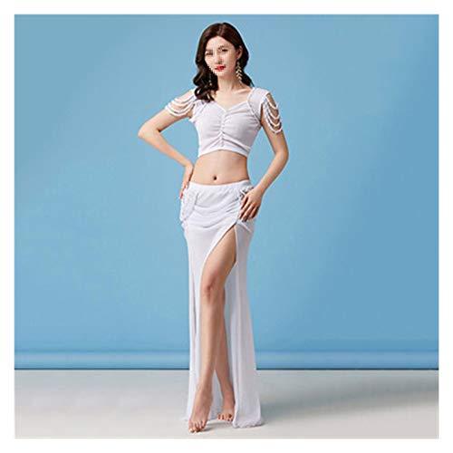 Huiyue Belly Dance Traje Verano Femenino Temperamento Chaqueta Práctica Ropa Profesional Net Gauze Falda Práctica Ropa Faldas (Color : White Top Vs Skirt, Size : XL)