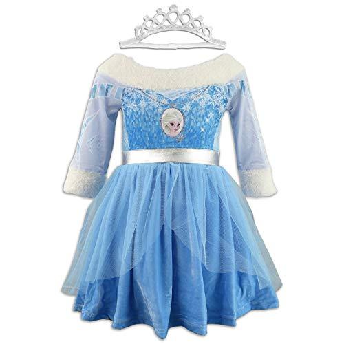 Disney Frozen  Vestido antifaz de terciopelo elstico y tul  Corona elstica  nia Azul Elsa 8 aos