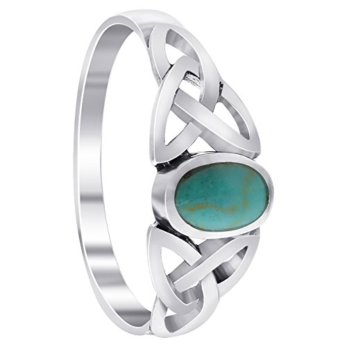 925 Sterling Silver Simulated Oval Turquoise Celtic Knot Ring Size 5