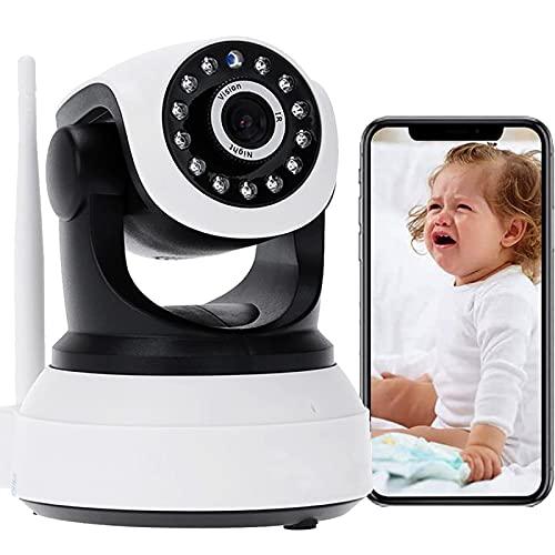 Cámara IP de Interior WiFi Interior de vigilancia Cámara Monitor de bebé 1080P HD Audio Bidireccional PTZ Pan355°/Tilt90° Visión Nocturna Notificación de inserción Detección de Movimiento 【Cámara】