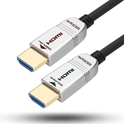 FeizLink Glasfaser HDMI Kabel 12m, Unterstützung HDMI2.0 4K@60Hz UHD 18Gbps Dolby Vision YUV4:4:4 HDR HDCP2.2 ARC CEC Ethernet für HDTV/Apple TV/Xbox / PS4 / 4K Projektor/Heimkino/Blu-ray-Player