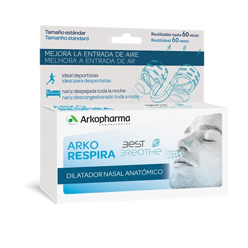 Arkopharma Arkorespira Dilatador Nasal Anatómico |Mejora la respiración | Anti Ronquidos | Nariz descongestionada y Despejada Toda la Noche | Ideal Para Deportistas| Reutilizable 60 veces
