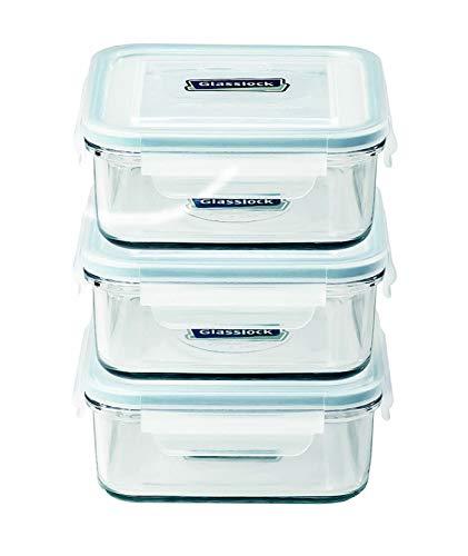 Glasslock FoodStorage Container with Locking Lids Microwave Safe 6pcs Set Square 17oz/490ml