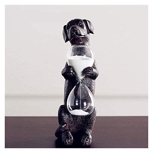 WQQLQX Statue Hund Timing Sanduhr Statue Handwerk Ornamente Tierharz Skulptur Kreative TV Kabinett Wohnzimmer Dekoration Zubehör Geschenk Kunst Figuren Skulpturen