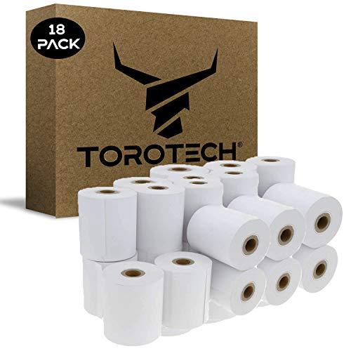 TOROTECH Rollos de Papel Térmico para Datáfonos 57x35x12mm - 18 Uds - Ecológicos Sin BPA - Bobinas Tickets Blanco Terminales Tarjetas de Crédito - Rodillos Impresoras POS TPV