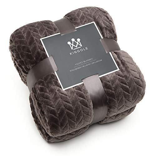 Kingole Flannel Fleece Luxury Throw Jacquard Weave Blanket, Charcoal Grey Twin Size Leaf Pattern Cozy Couch/Bed Super Soft and Warm Plush Microfiber 350GSM (66 x 90 inches)