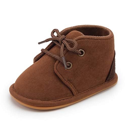 Casazoe Infant Boots Snow Baby Girls Boys Fur Lace Up Warm Boots Ankle Sneaker Anti Slip Rubber Sole Toddler First Walker Winter Crib Shoes