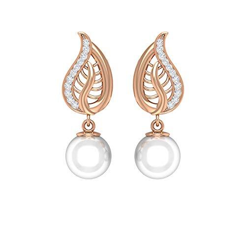 Rosec Jewels 10 quilates oro rosa redonda round-brilliant-shape H-I White Diamond Perla de agua dulce