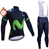 Men's Winter Long Sleeve Cycling Set Cycling Jersey with 5D Gel Padded Riding Tights Padded Bib Tights Pants Combo Set Quick Dry Cycling Jersey Set for Outdoor Sport Cycling Biking