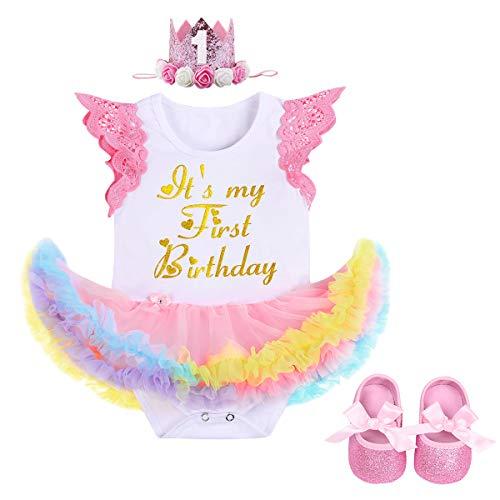 FYMNSI Es ist Mein Erster Geburtstag Baby Mädchen 1 Jahr Outfit Regenbogen Tüll Tütü Prinzessin Body Kleid Strampler + Krone Stirnband + Schuhe 3tlg Set für Geburtstagsparty Fotoshooting Rosa 12-18M
