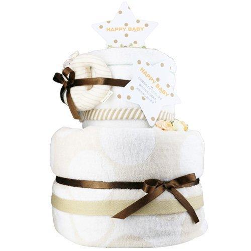 今治 おむつケーキ シフィール (ベージュ) 今治ウォッシュタオル 今治バスタオル 付 にゃんこ(ナチュラル) ムーニーMサイズ [ 出産祝い ] 日本製