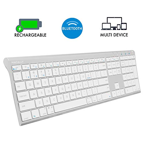 Macally Wireless Bluetooth Keyboard with Numeric Keypad for Laptops, Computers (Apple: Mac, iMac,...