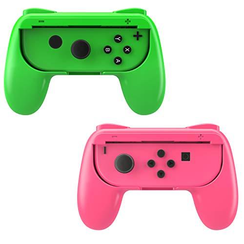 MoKo Kompatibel mit Nintendo Switch Joy Con Griff Gaming Controller -[2 Stück] Komfort Gamepad Controller Grips für Switch Joy-Con, Rosa und Grün