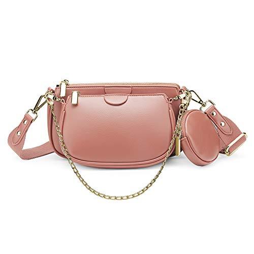 YALUXE Mehrzweck Umhängetasche Damen Multi Geldbörse PU Leder Reißverschluss Mode Handtaschen mit Münzbeutel Hellrosa