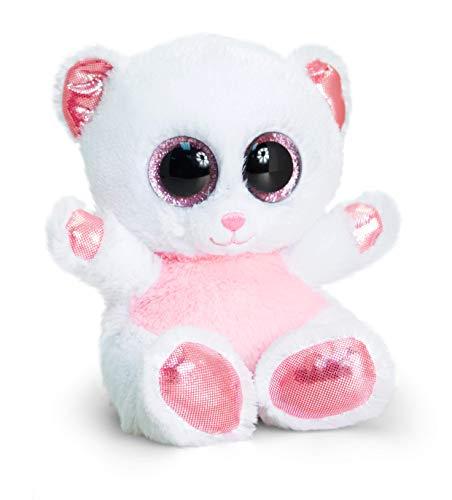 Animotsu Oso de Peluche Rosa y Blanco, compañero Esponjoso con Grandes Ojos Brillantes, Aprox. 15 cm, Color Colorido, Talla estándar (Fun Unlimited SF0958)
