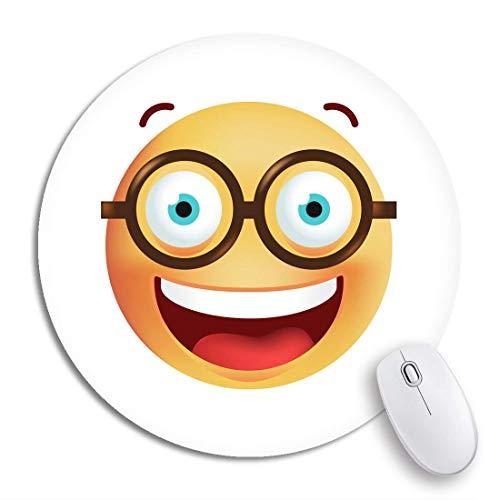 Round Mouse Pad Blue Nerd Niedliche Emoticon Brille auf Yellow Geek Schwarz Rutschfeste Gummibasis Mausmatte Gaming Mousepad für Computer