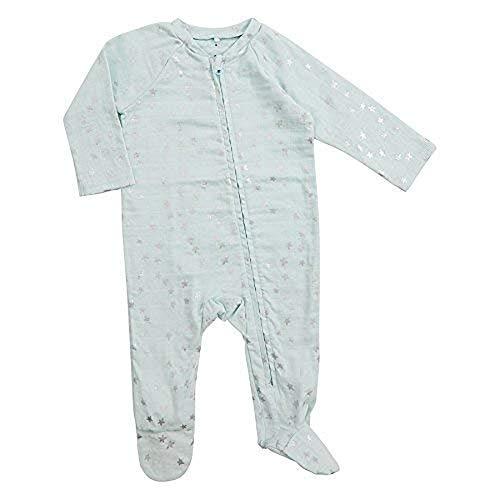 aden + anais Baby Boys Long Sleeve Zipper One-Piece, Skylight-3-6