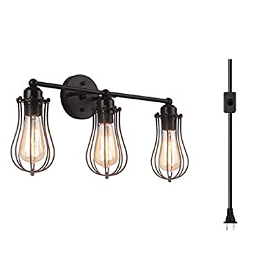 3-Light Industrial Bathroom Vanity Light,Plug-in or Hardwire Industrial Cage Wall Sconce, Vintage Edison Wall Lamp Light Fixture for Bathroom, Dressing Table, Mirror Cabinets, Vanity Table