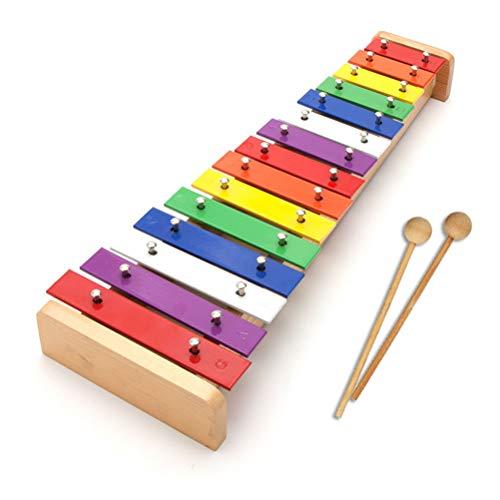 Fangteke Kinder Xylophon aus Holz mit 15 Metallschlüsseln Regenbogenfarbenes Musikinstrument Spielzeug mit Holzhammer Tolles Geschenk für Kinder