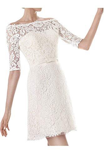 YASIOU Hochzeitskleid Kurz Standesamt Off Shoulder Vintage Spitze A Linie Gürtel Hochzeitskleider Brautkleid mit ärmeln