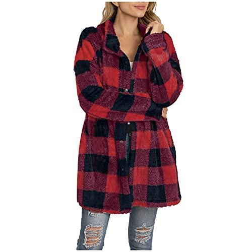 Berimaterry Abrigos mujer invierno 2021 chaqueta largo de mujer con estamado de Cuadros Escoceses Cárdigans largo otoño blusa top elegante Cazadora de felpa chaqueta cortavientos baratos cómodos