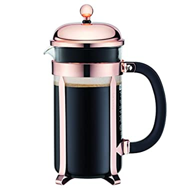 Bodum Chambord French Press Coffee Maker, Glass, 34 Ounce, 1 Liter, (8 Cup), Copper