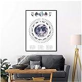 BINGJIACAI Póster de calendario de fases lunares de 2021, zonas horarias de EE. UU. Y Europa, calendario de impresión, cuadro artístico de pared, pintura en lienzo, decor del hogar, 42x60cm sin marco