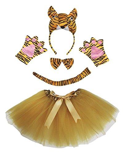 Petitebelle 3D diadema Bowtie Guantes de cola Tutu niña Disfraz de 5 piezas Un tamaño tigre 3D