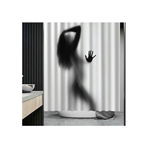 Daesar Polyester-Stoff Badvorhang Vintage Nackt Frau 3D Duschvorhang Antischimmel 180x200 cm