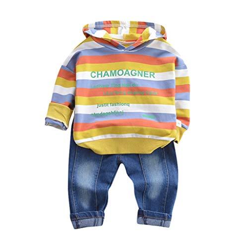 Kinderkleidung 2 stück Set Kleidung Kleinkind feiXIANG Brief drucken Sweatshirt mit Kapuze Tops Hosen Jungen Langarm Outfits (G-Gelb, 100)