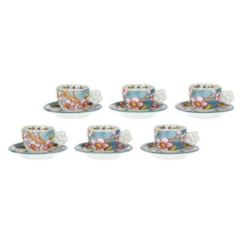 THUN - Set 6 Tazzine caffè - Accessori Cucina - Idea Regalo - Linea Color Your Easter - Porcellana - Tazzina Ø 6,5 cm, 5,5 h cm 60 ml, Piattino Ø 11,5 cm