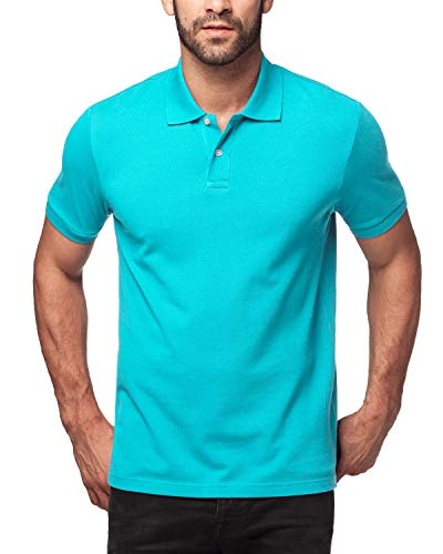 LAPASA Herren 100% Baumwolle Poloshirt M19 Mehrweg (Türkis, L)