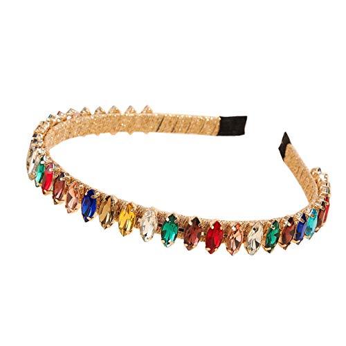 Diadema de cristal con diamantes de imitación dorados, color blanco, mezcla de piedras preciosas finas para el pelo, diosa y uso diario para mujeres y niñas