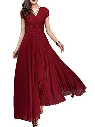 Minetom Damen Elegant Chiffon Maxi Kleid Hohe Taille Langes Abendkleid Partykleid Hochzeit Brautjungfer Brautkleid Cocktail Festliches Kleid Boho V-Ausschnitt Kurzarm Sommerkleid Rot 44