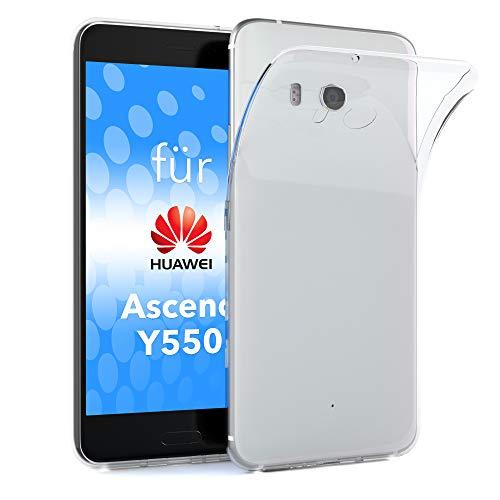 EAZY CASE Hülle kompatibel mit Huawei Ascend Y550 Schutzhülle Silikon, Ultra dünn, Slimcover, Handyhülle, Silikonhülle, Backcover, Durchsichtig, Klar Transparent