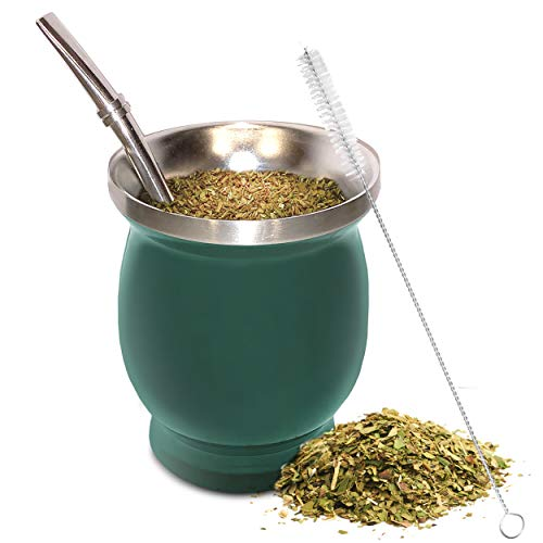 Yerba Mate Natural Gourd/Tea Cup Set Green (Original Traditional Mate Cup - 8 Ounces) | Includes Bombilla (Yerba Mate Straw) & Cleaning Brush | Green Stainless Steel | Double-Walled | Easy to Clean