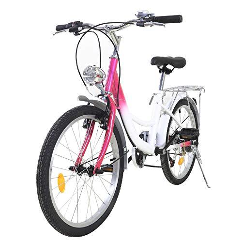 OUKANING Bicicleta para niños de 20 Pulgadas y 6 velocidades, Bicicleta para niños y niñas de 12 a 16 años, Bicicleta para niños