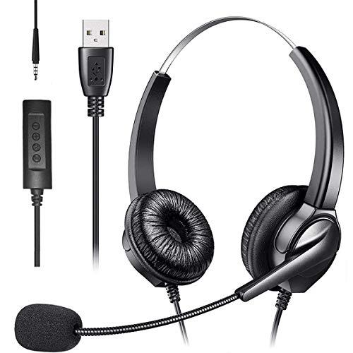 USB-Headset mit Mikrofon, USB-Kabel, PC-Kopfhörer, ultraleicht und bequem, mit Geräuschunterdrückung und Audio-Steuerung, für Call-Center/Büro/Konferenzanrufe/Online-Kurs-Chat/Skype etc.
