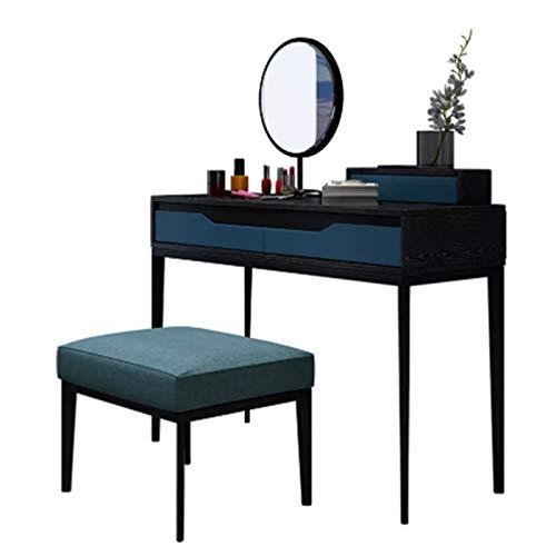 ZDAMN Tocador de maquillaje nórdico para dormitorio con cajón azul, tocador simple de madera maciza, tocador de maquillaje para el hogar (color: azul, tamaño: 76 x 42 x 110 cm)